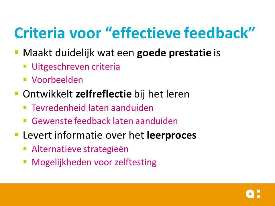 Criteria voor effectieve feedback
