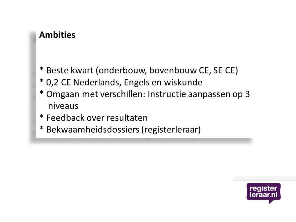 Ambities * Beste kwart (onderbouw, bovenbouw CE, SE CE) * 0,2 CE Nederlands, Engels en wiskunde.