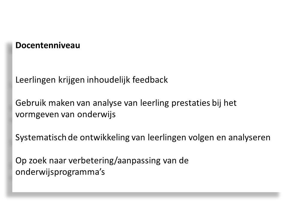 Docentenniveau Leerlingen krijgen inhoudelijk feedback. Gebruik maken van analyse van leerling prestaties bij het vormgeven van onderwijs.