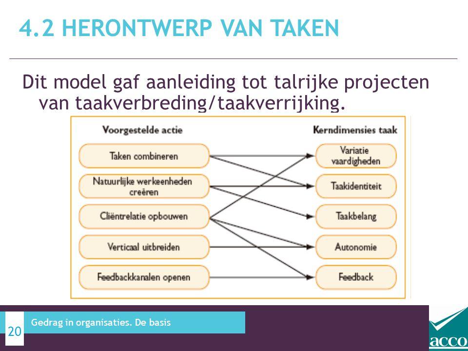 4.2 Herontwerp van taken Dit model gaf aanleiding tot talrijke projecten van taakverbreding/taakverrijking.