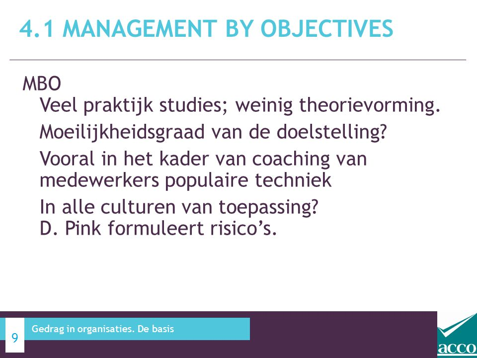 4.1 Management by objectives