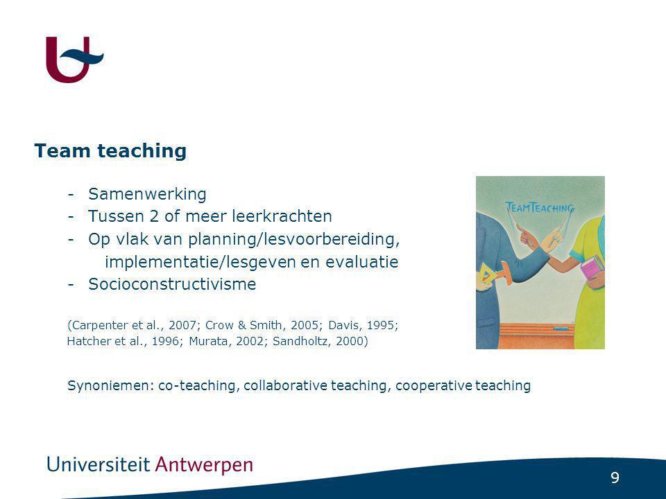 Onderzoeksvragen OV1 Welke modellen van team teaching kunnen we onderscheiden OV2 Welke voor- en nadelen zijn verbonden aan team teaching