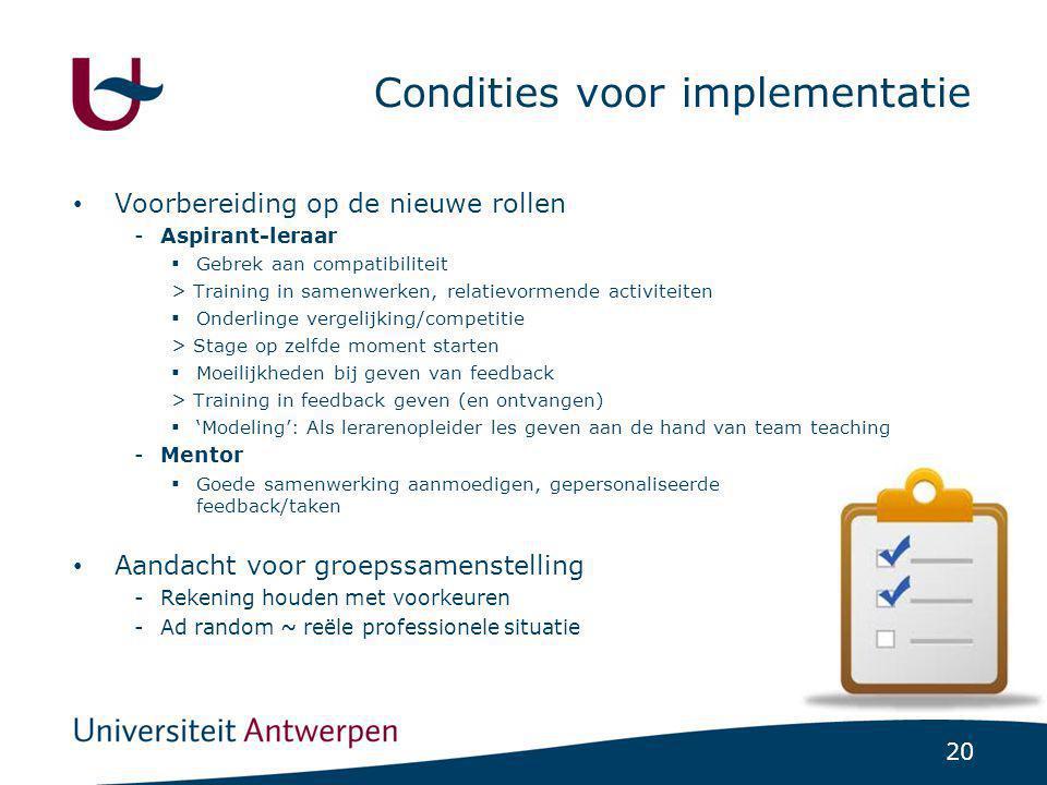 Condities voor implementatie