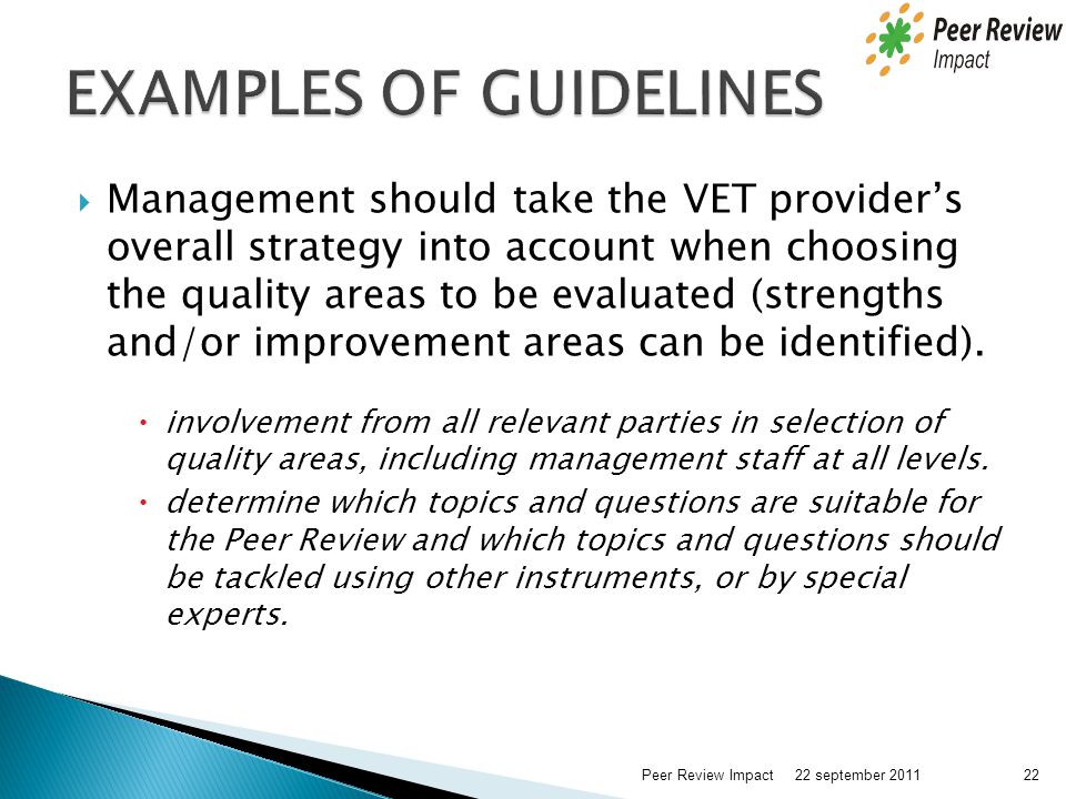 EXAMPLES OF GUIDELINES