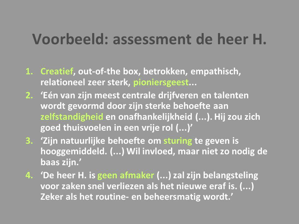 Voorbeeld: assessment de heer H.