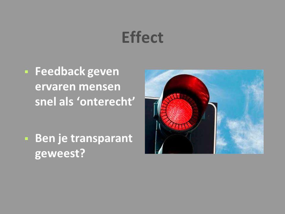 Effect Feedback geven ervaren mensen snel als 'onterecht'