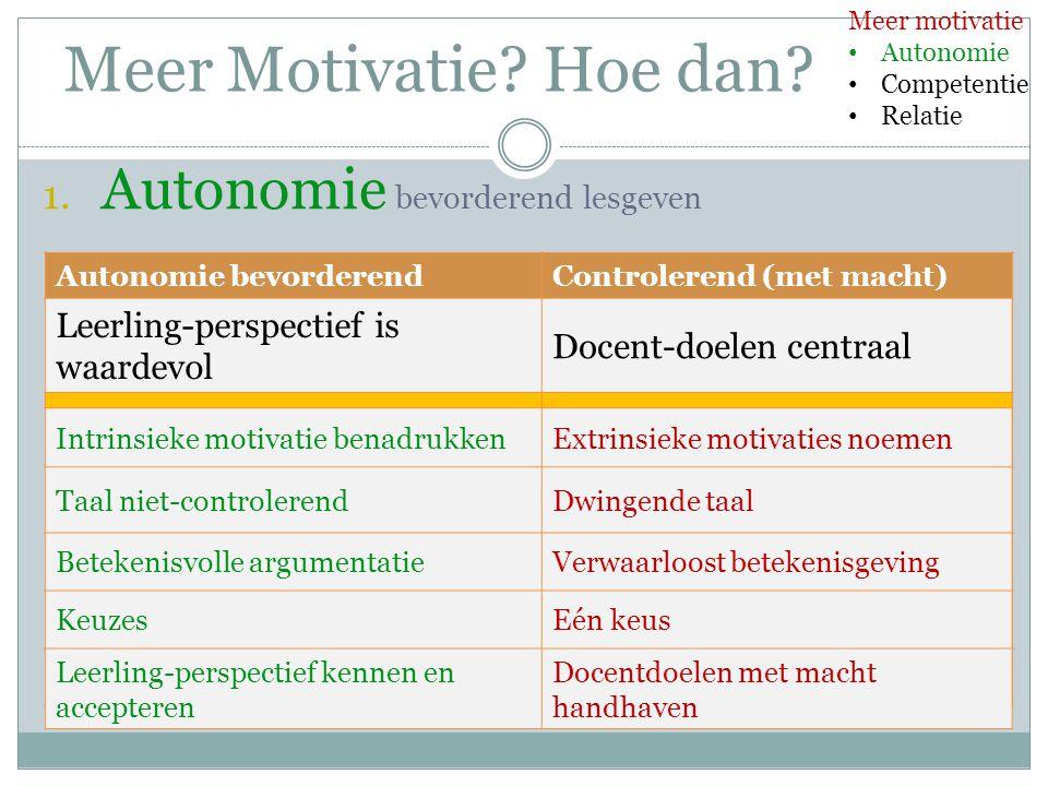 Meer Motivatie Hoe dan Autonomie bevorderend lesgeven