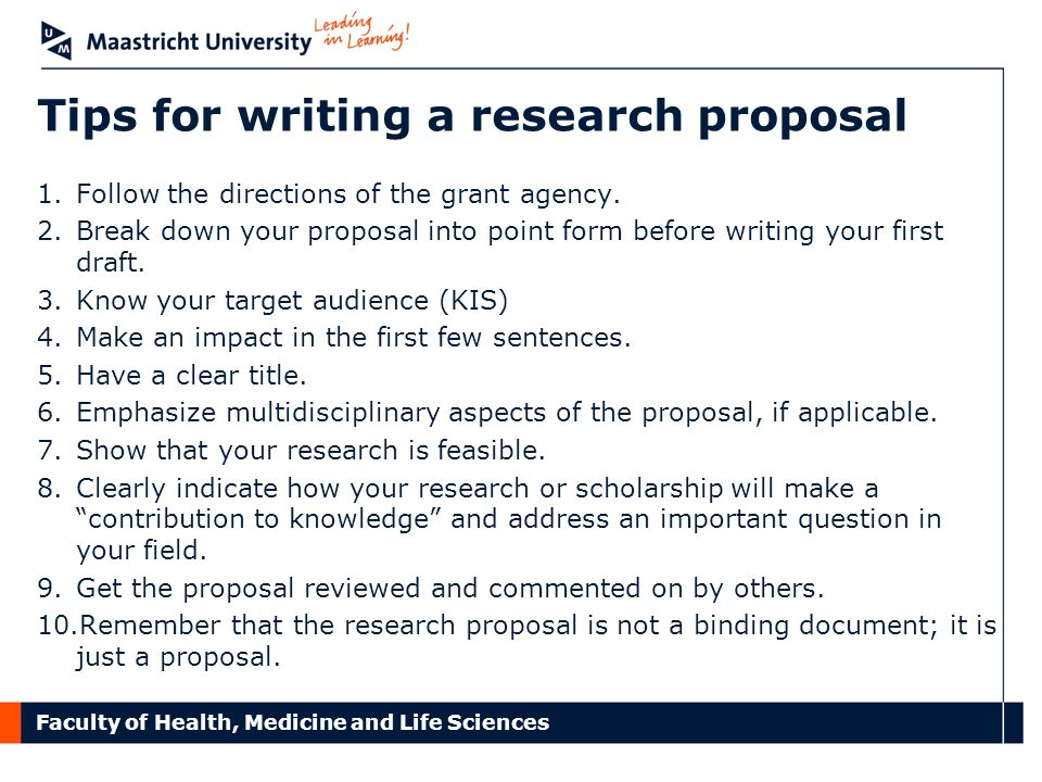 Tips for writing a research proposal