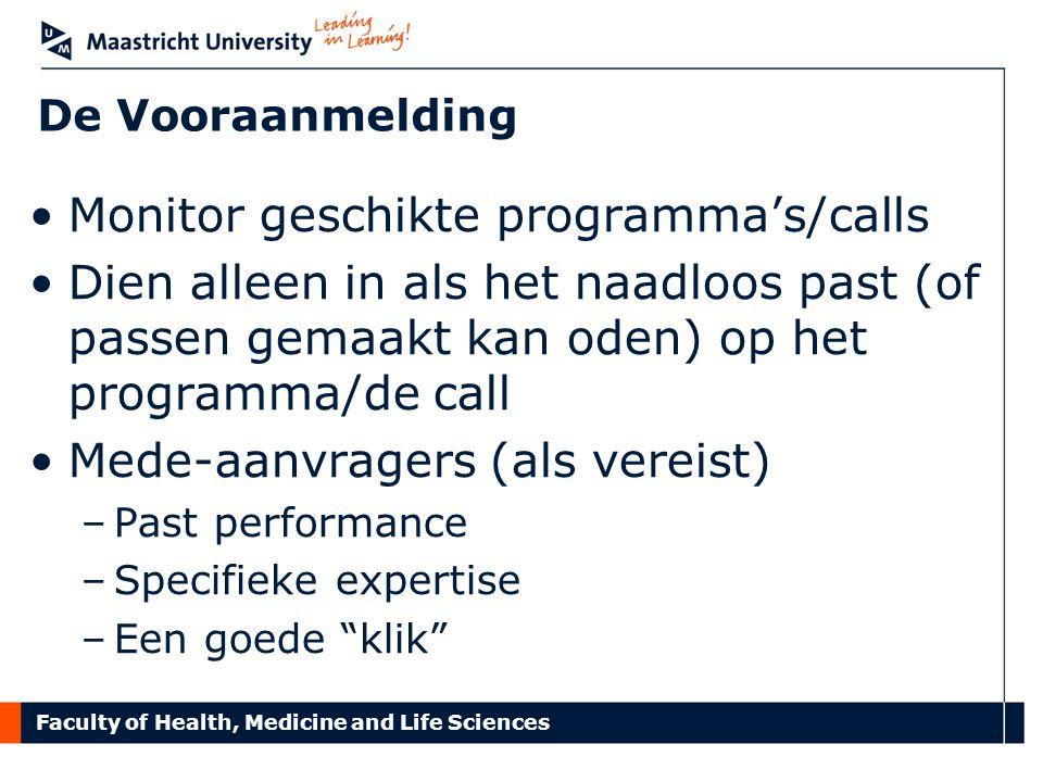 Monitor geschikte programma's/calls
