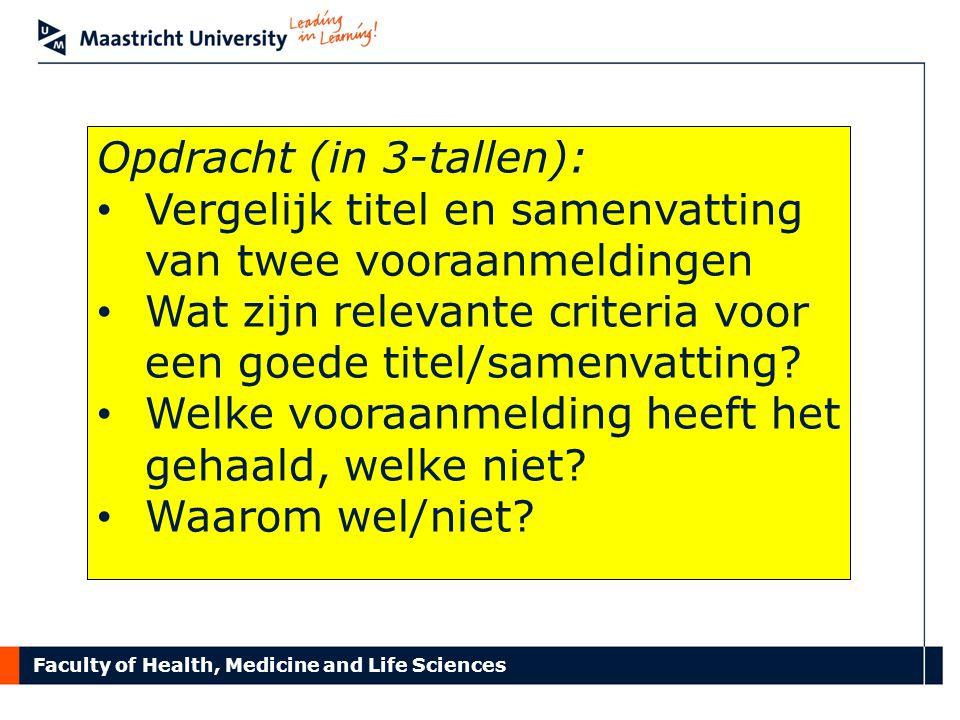 Opdracht (in 3-tallen):