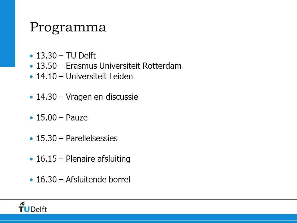 Programma 13.30 – TU Delft 13.50 – Erasmus Universiteit Rotterdam