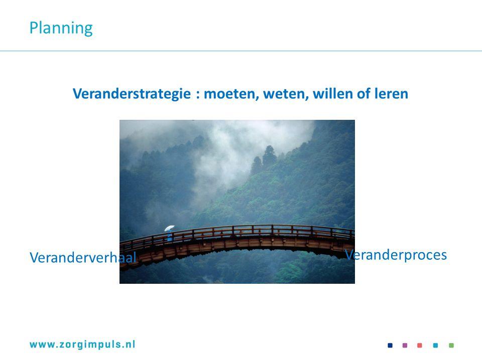 Planning Veranderstrategie : moeten, weten, willen of leren