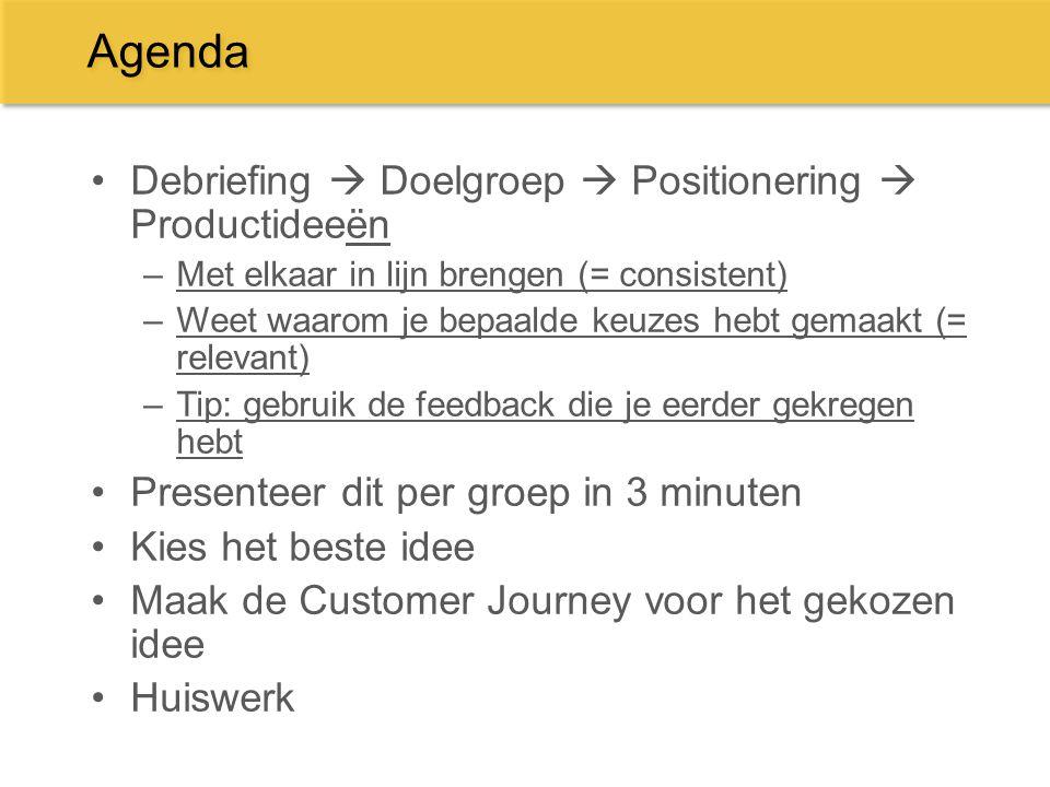 Agenda Debriefing  Doelgroep  Positionering  Productideeën