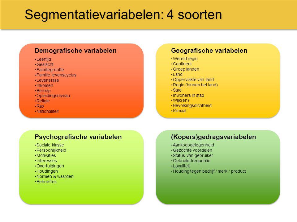 Segmentatievariabelen: 4 soorten