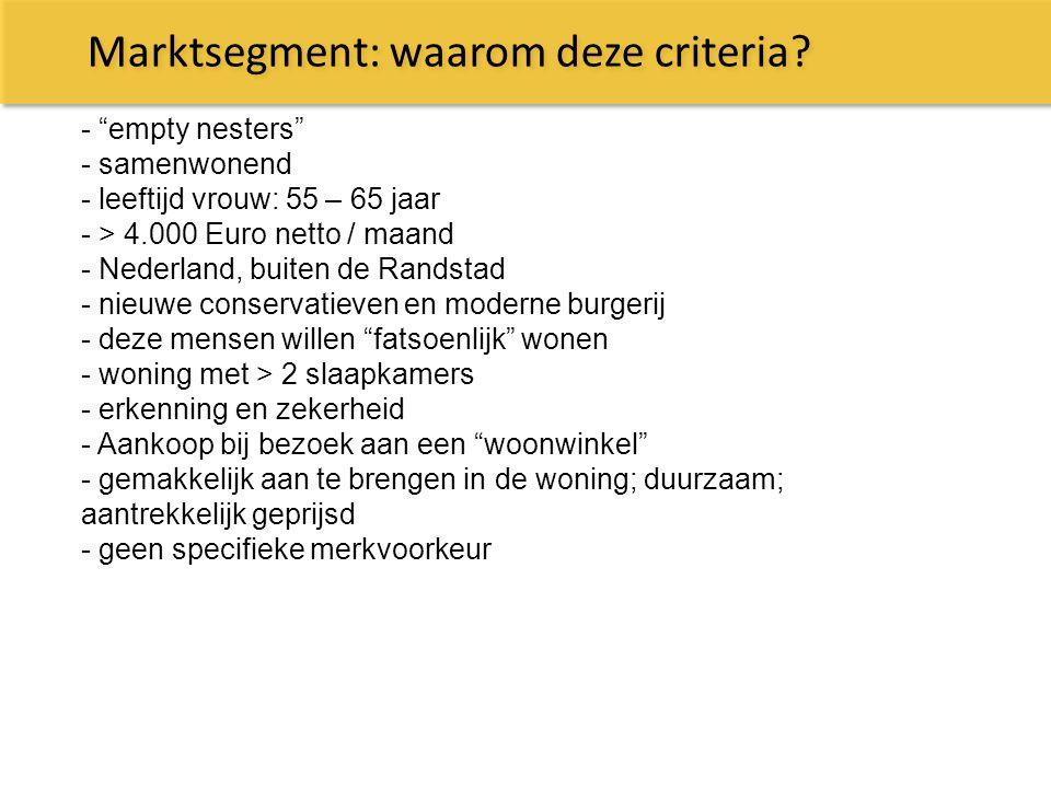 Marktsegment: waarom deze criteria