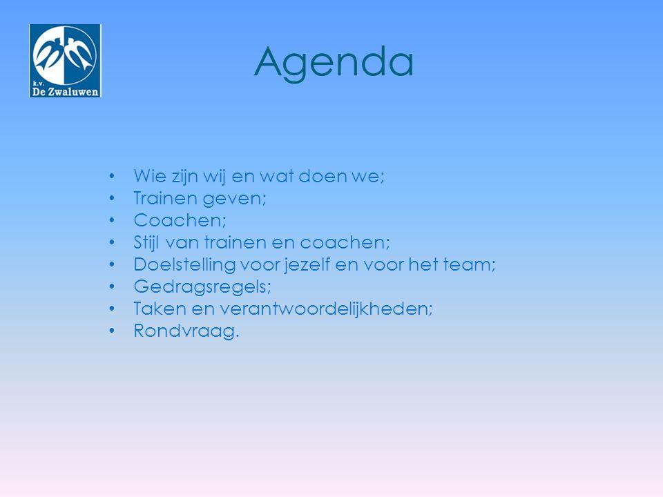 Agenda Wie zijn wij en wat doen we; Trainen geven; Coachen;