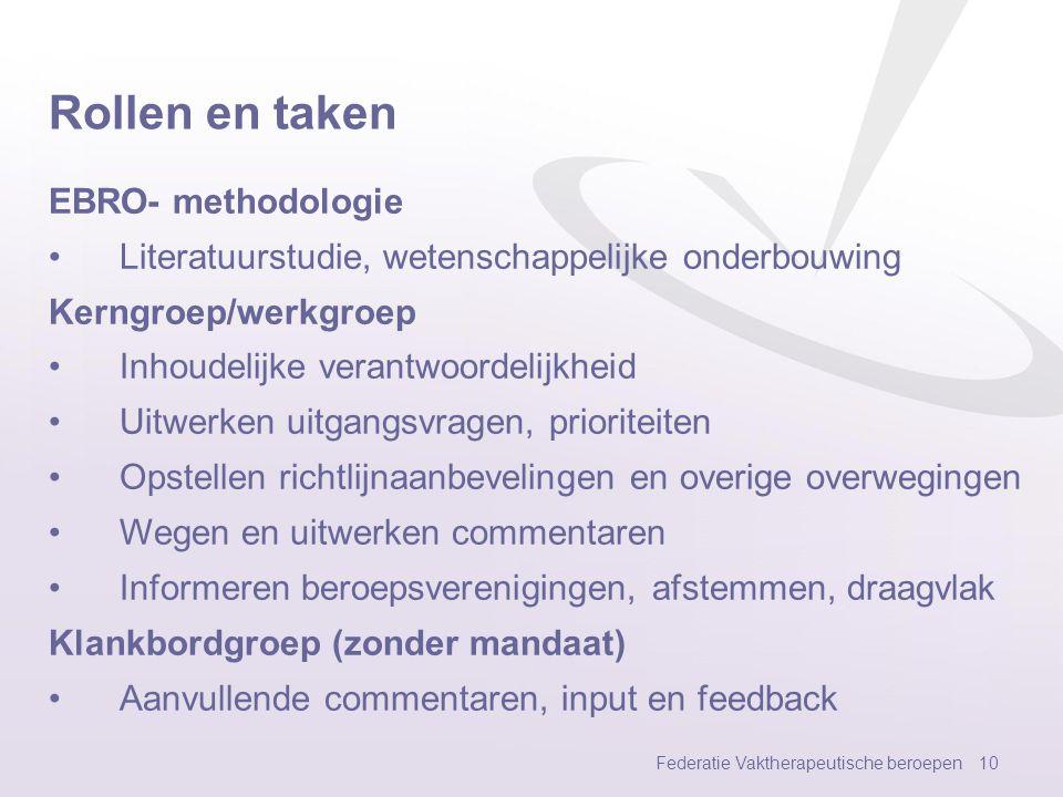 Rollen en taken EBRO- methodologie