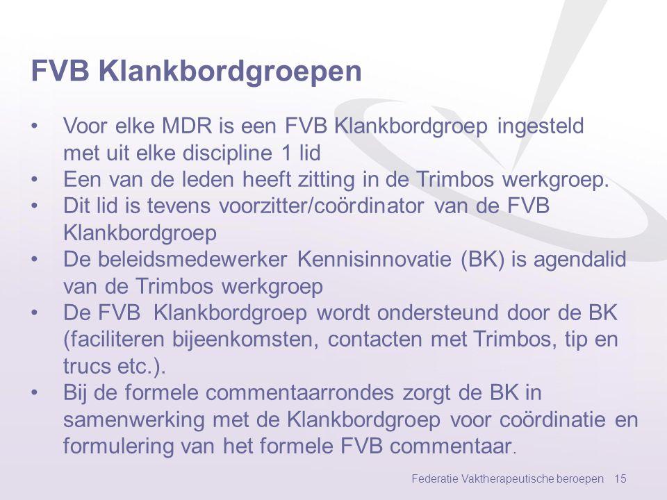 FVB Klankbordgroepen Voor elke MDR is een FVB Klankbordgroep ingesteld met uit elke discipline 1 lid.
