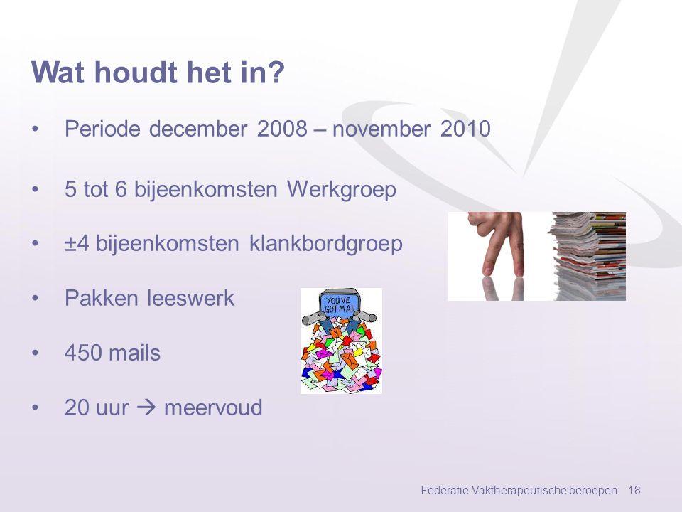 Wat houdt het in Periode december 2008 – november 2010
