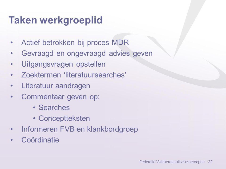 Taken werkgroeplid Actief betrokken bij proces MDR
