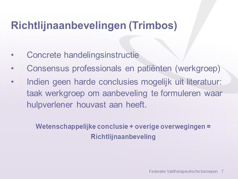 Richtlijnaanbevelingen (Trimbos)