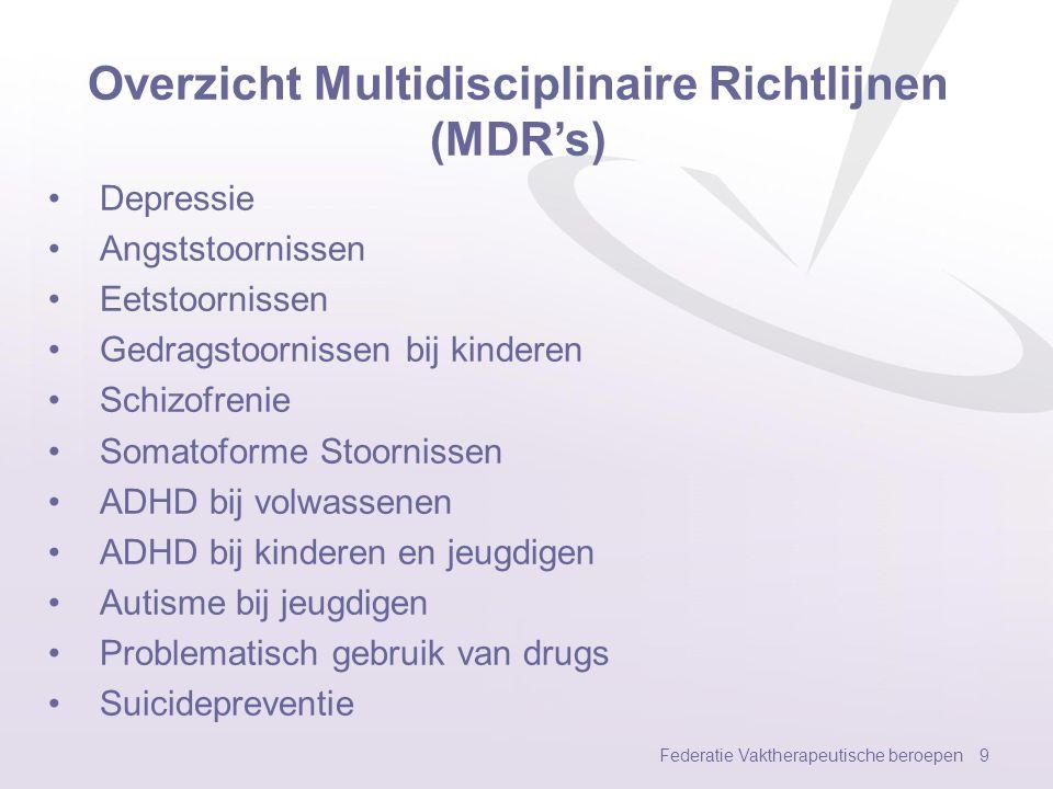 Overzicht Multidisciplinaire Richtlijnen (MDR's)