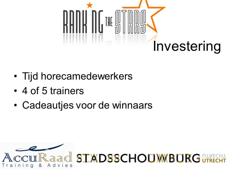 Investering Tijd horecamedewerkers 4 of 5 trainers