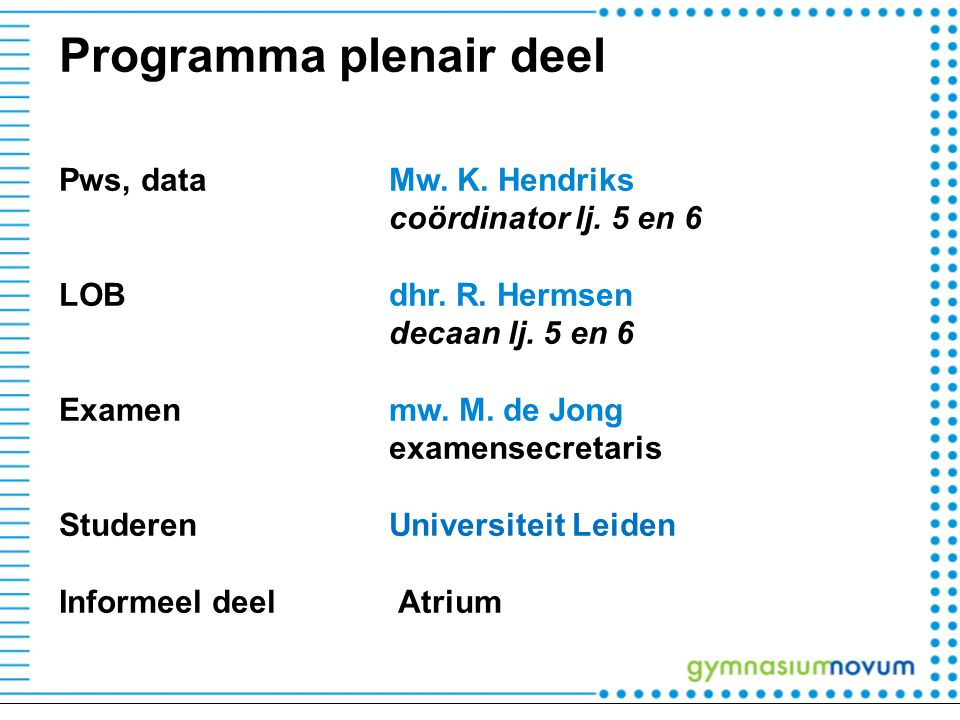 Programma plenair deel