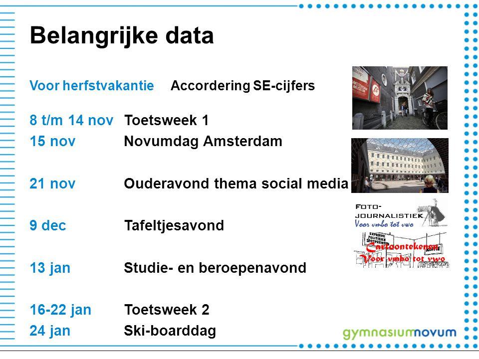 Belangrijke data 8 t/m 14 nov Toetsweek 1 15 nov Novumdag Amsterdam