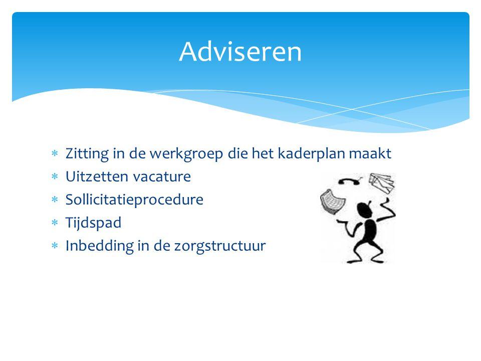 Adviseren Zitting in de werkgroep die het kaderplan maakt