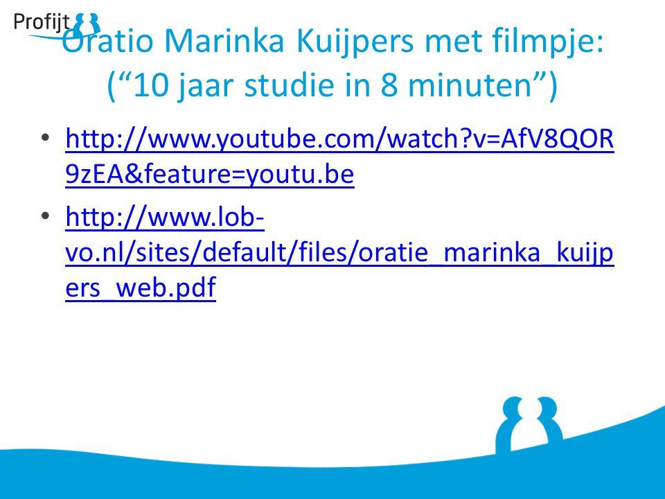 Oratio Marinka Kuijpers met filmpje: ( 10 jaar studie in 8 minuten )