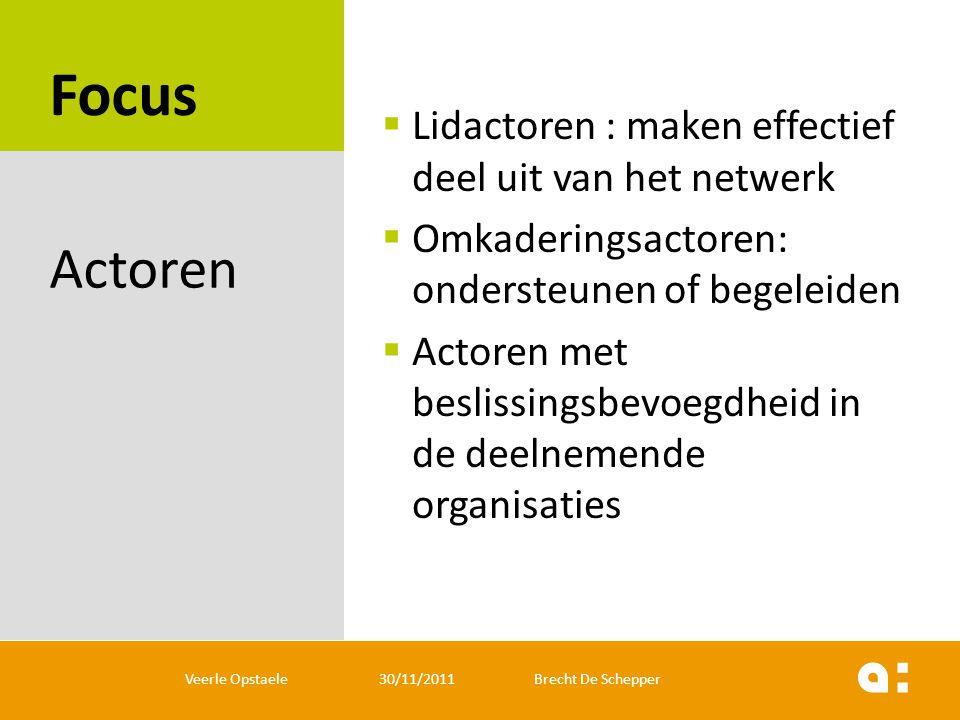 Focus Actoren Lidactoren : maken effectief deel uit van het netwerk