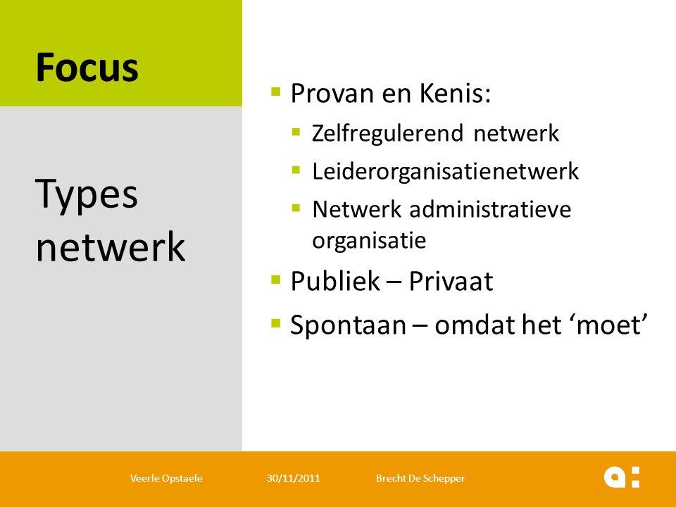 Focus Types netwerk Provan en Kenis: Publiek – Privaat