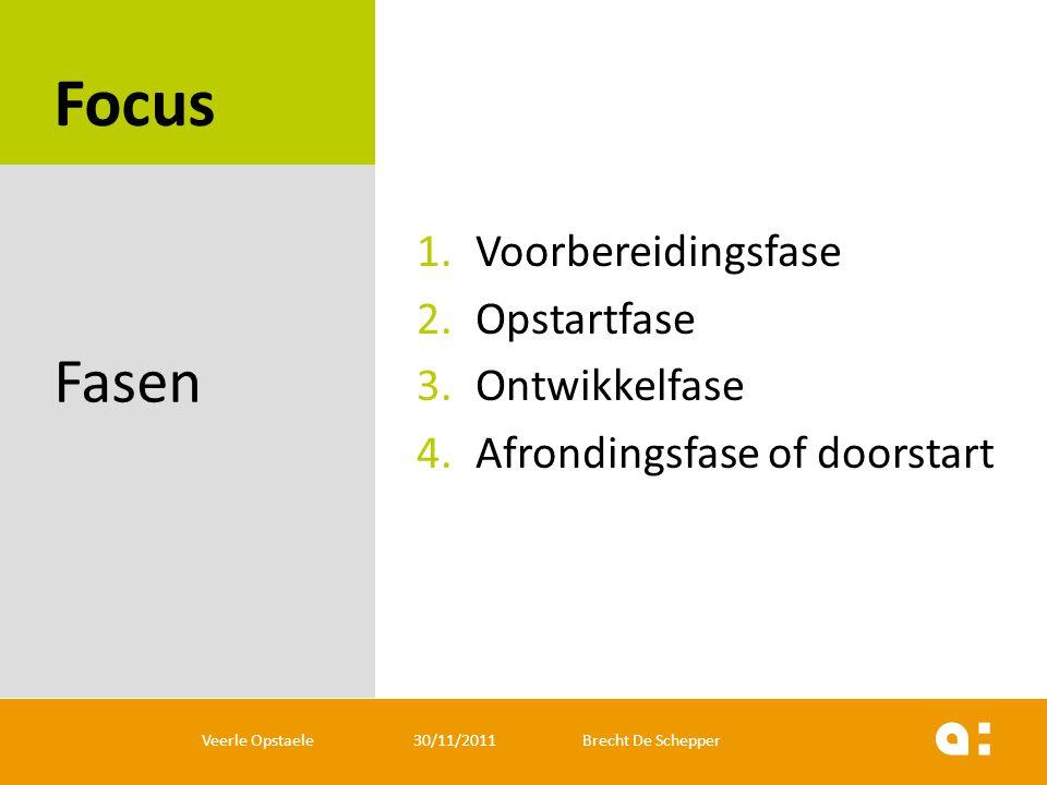 Focus Fasen Voorbereidingsfase Opstartfase Ontwikkelfase