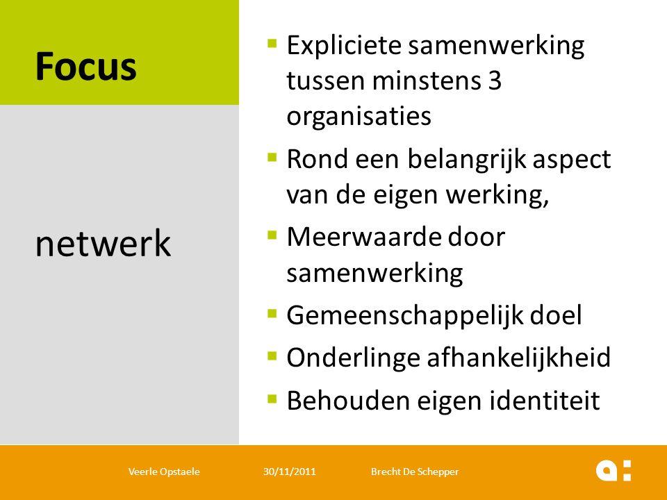 Focus netwerk Expliciete samenwerking tussen minstens 3 organisaties