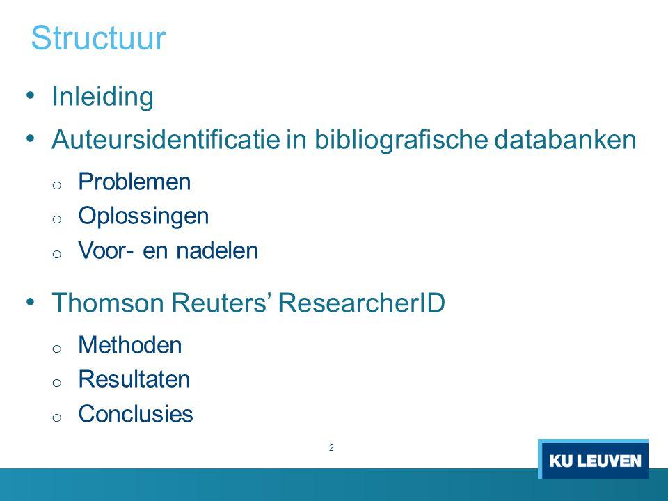 Structuur Inleiding Auteursidentificatie in bibliografische databanken