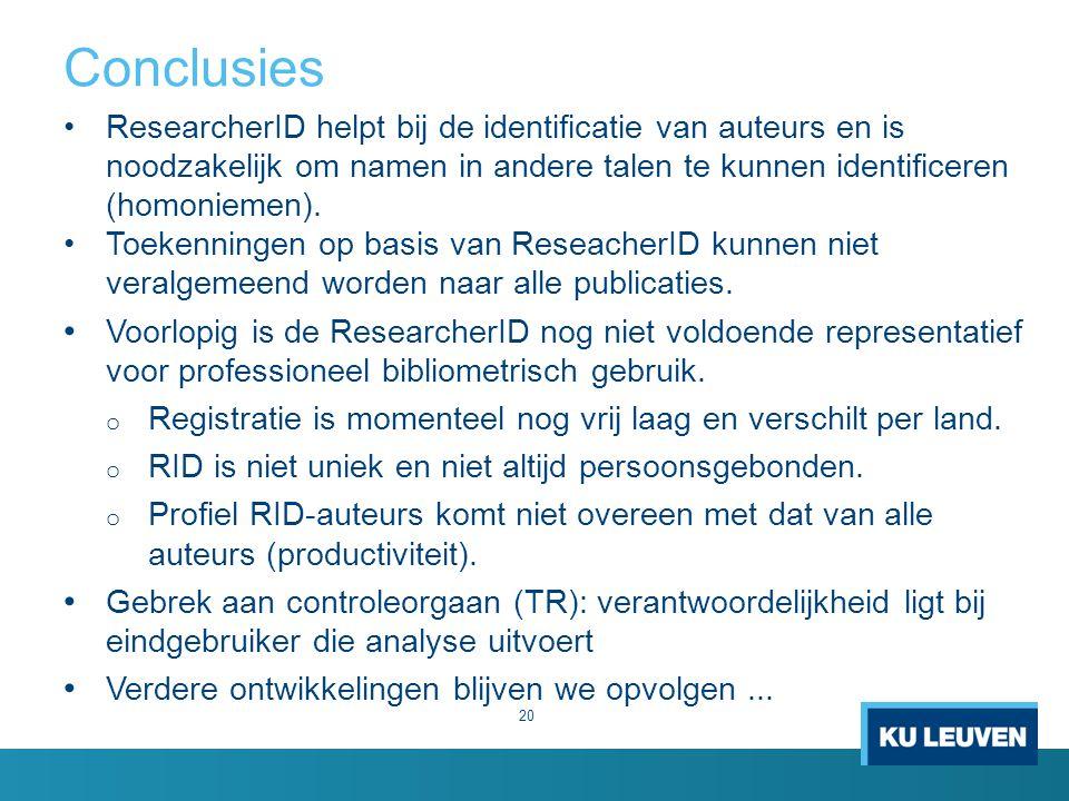 Conclusies ResearcherID helpt bij de identificatie van auteurs en is noodzakelijk om namen in andere talen te kunnen identificeren (homoniemen).