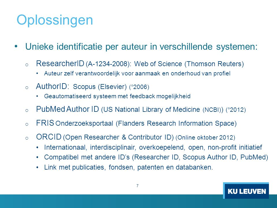 Oplossingen Unieke identificatie per auteur in verschillende systemen: