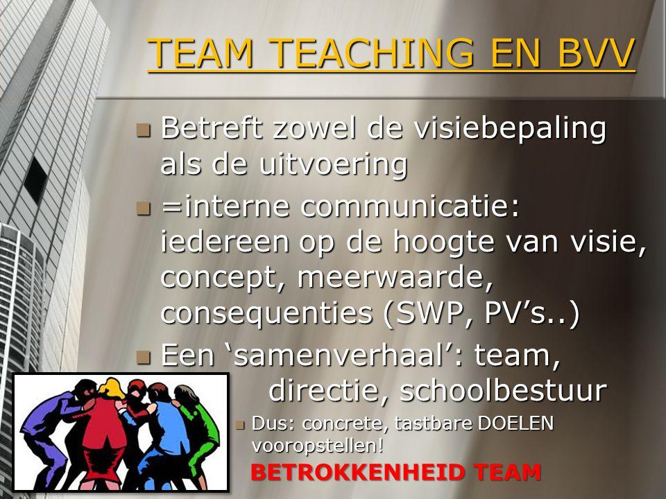 TEAM TEACHING EN BVV Betreft zowel de visiebepaling als de uitvoering