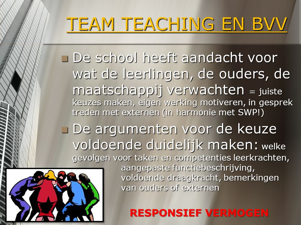 TEAM TEACHING EN BVV