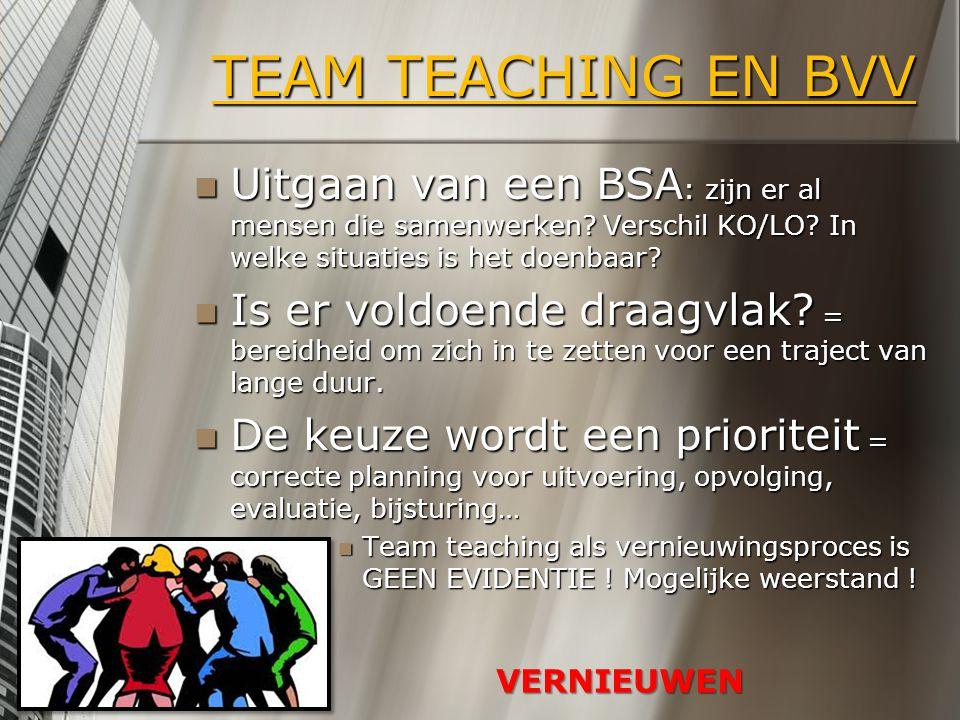 TEAM TEACHING EN BVV Uitgaan van een BSA: zijn er al mensen die samenwerken Verschil KO/LO In welke situaties is het doenbaar