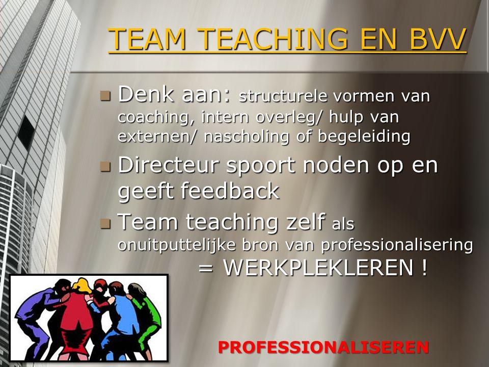 TEAM TEACHING EN BVV Denk aan: structurele vormen van coaching, intern overleg/ hulp van externen/ nascholing of begeleiding.