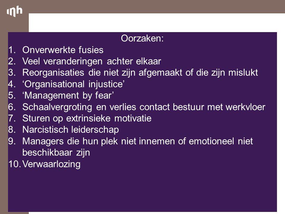 Oorzaken: Onverwerkte fusies. Veel veranderingen achter elkaar. Reorganisaties die niet zijn afgemaakt of die zijn mislukt.