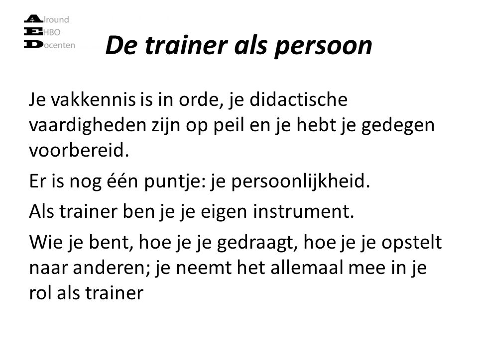 De trainer als persoon