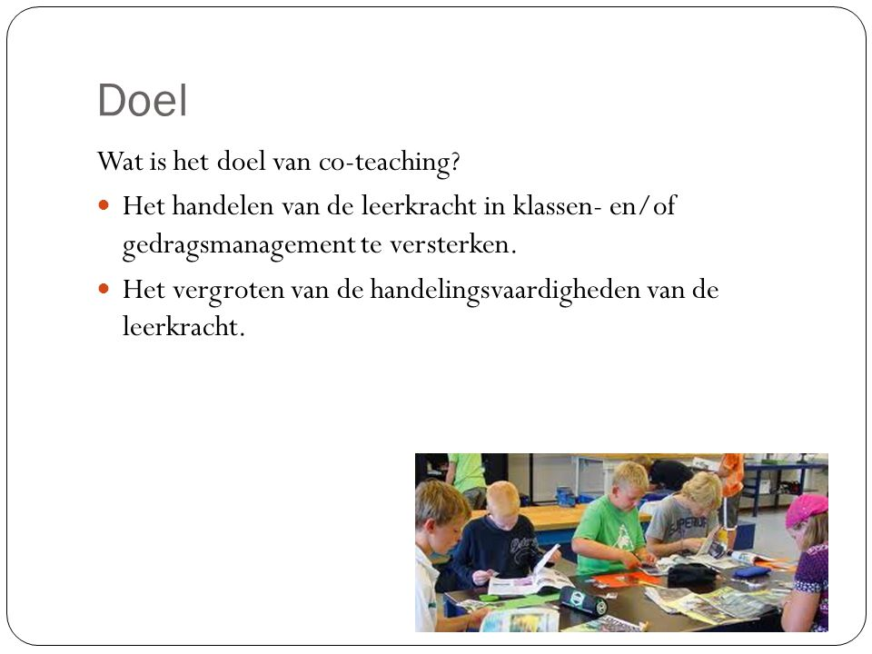 Doel Wat is het doel van co-teaching