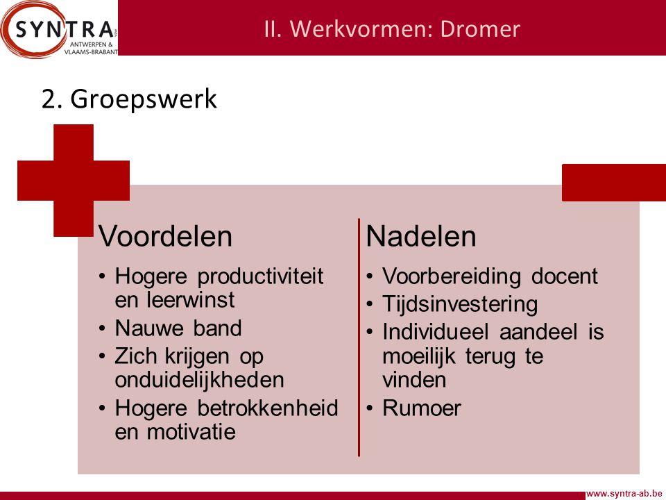 2. Groepswerk Voordelen Nadelen II. Werkvormen: Dromer