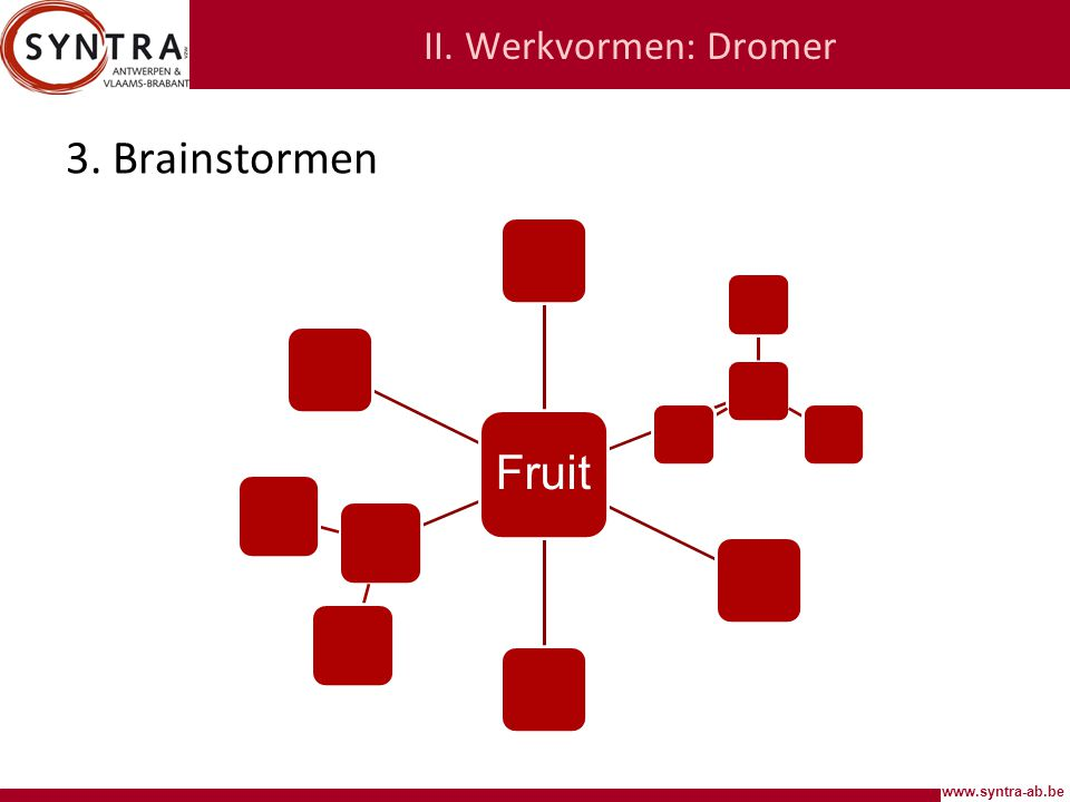 II. Werkvormen: Dromer Fruit 3. Brainstormen