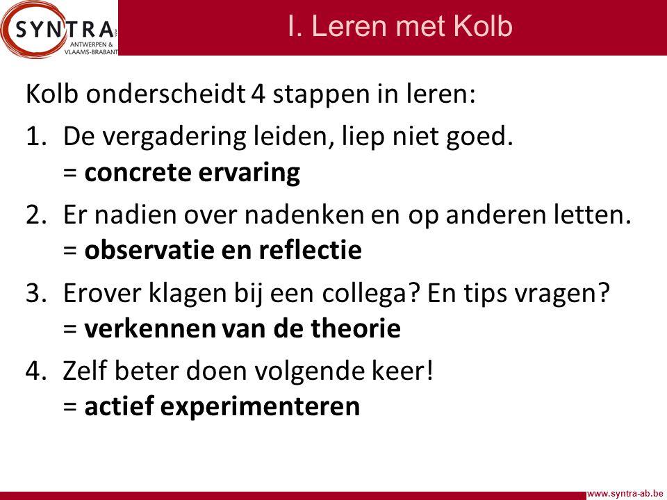 I. Leren met Kolb Kolb onderscheidt 4 stappen in leren: De vergadering leiden, liep niet goed. = concrete ervaring.