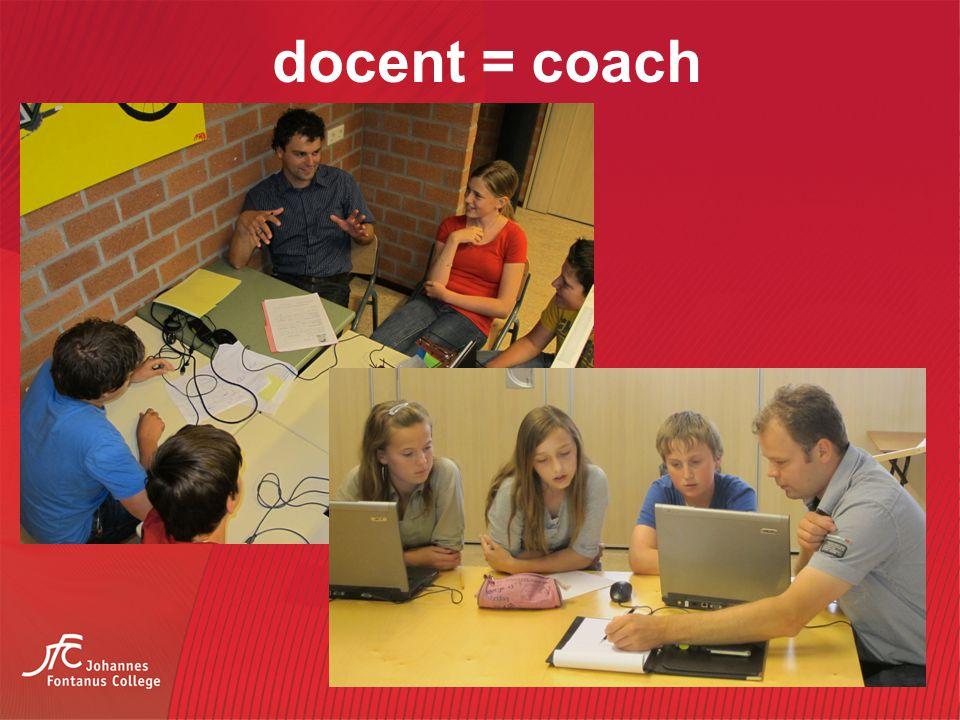 docent = coach De docent op het technasium heeft een heel andere rol dan bij andere vakken op school.