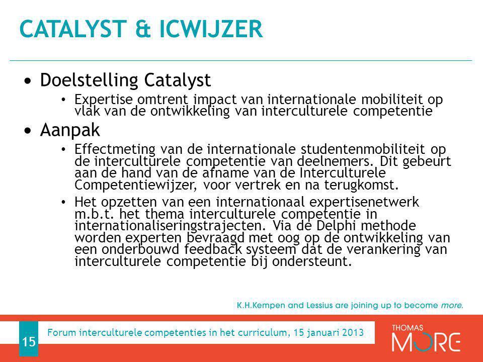 Catalyst & ICWijzer Doelstelling Catalyst Aanpak